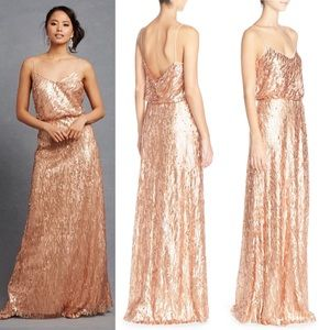 BHLDN x Donna Morgan sequin 4 rose gold gown